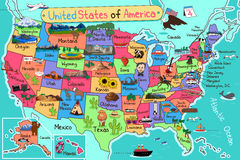 USA mapa w kreskówka stylu