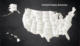 USA mapa z Alaska i Hawaje kartografujemy Czarnego bielu oddzielnego indywidualnego blackboard Royalty Ilustracja