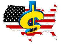 USA mapa z flaga Zdjęcia Royalty Free