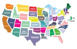 USA mapa z stanami Obraz Stock