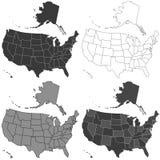 USA mapy set ilustracji