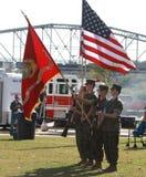 USA Marine Corps Color Guard med flaggor Arkivbild