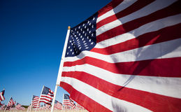 USA-Markierungsfahnenbildschirmanzeige, die Nationalfeiertag gedenkt Stockbilder
