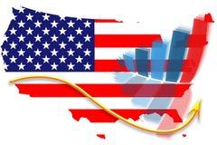 USA-Markierungsfahnenkarte und Diagrammdiagramm vektor abbildung