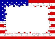 USA-Markierungsfahnenpuzzlespielrand Lizenzfreies Stockfoto