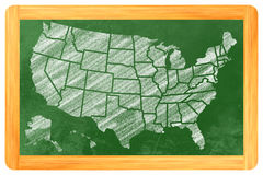 USA med tillstånd på en svart tavla Arkivfoto