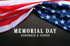 Free USA Memorial Day And Independence Day Concept, United States Of America Flag On Black Background Royalty Free Stock Photo - 181879385