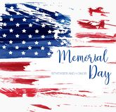 USA Memorial day background. Abstract grunge flag with text. Template for horizontal banner, greeting card, invitation, poster, flyer, etc Stock Photos