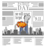 USA memorial day 9th of september. Patriot day 9 11. Newspaper. Royalty Free Stock Photos