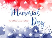 Usa Memorial day watercolored background. USA Memorial day background. Abstract grunge watercolor paint splashes in flag colors with text. Template for holiday Stock Image
