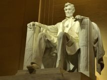 USA Memorials at moonlight. Famous landmarks of Washington DC: architecture, building of  Lincoln memorial at night Stock Photos