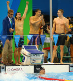 USA Men's 4x100m medley relay team Cory Miller (L),  Michael Phelps  and Ryan Murphy celebrate victory Royalty Free Stock Photos