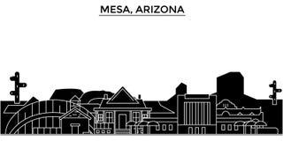 Usa, mesy, Arizona architektury miasta wektorowa linia horyzontu, podróż pejzaż miejski z punktami zwrotnymi, budynki, odosobneni ilustracji