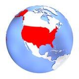 USA on metallic globe isolated. Map of USA on metallic globe. 3D illustration isolated on white background Royalty Free Stock Photos