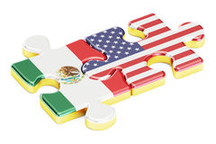 USA and Mexican puzzles from flags, relation concept. 3D renderi Royalty Free Stock Image