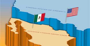 Usa and Mexico border map with national flags stock photography