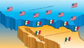 Usa and Mexico border map with national flags royalty free stock image