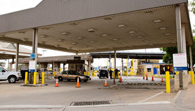 USA Mexico border. View of the border crossing from USA to Mexico in downtown Brownsville Texas stock photo