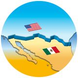 Usa and Mexico border wall map with national flags royalty free stock photography