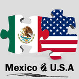 USA and Mexico flags in puzzle Stock Photo