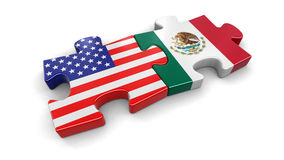 USA and Mexico puzzle from flags Royalty Free Stock Photos