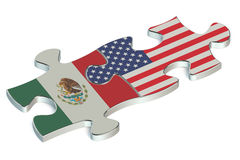 USA and Mexico puzzles from flags Stock Images