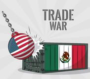 Trade war concept. USA and mexico trade war concept vector illustration graphic design Royalty Free Stock Image