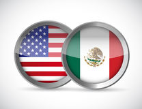 Usa and mexico union seals illustration design Stock Image