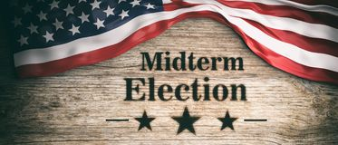 USA flag and midterm elections, wooden background, 3d illustration. USA midterm election. The American flag and midterm elections clip art on wooden background stock illustration