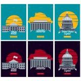 USA miejsca przeznaczenia turystyczni plakaty wektor royalty ilustracja