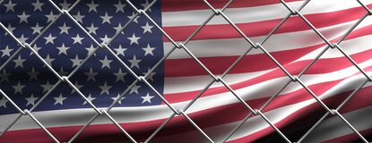 USA and migration border fence. United states flag behind wire mesh. 3d illustration