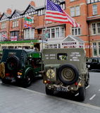 USA / British military jeeps and flags Stock Images