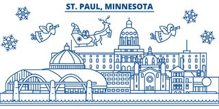 USA, Minnesota, St. Paul winter city skyline. Merry Christmas and Happy New Year decorated banner. Winter greeting card Royalty Free Stock Photography