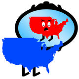 USA mirror. Liberal USA (blue) seeing itself as conservative (red) in the mirror Royalty Free Stock Images