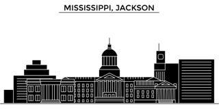 Usa, Mississippi, Jackson architecture vector city skyline, travel cityscape with landmarks, buildings, isolated sights. Usa, Mississippi, Jackson architecture Stock Photo