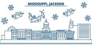 USA, Mississippi , Jackson winter city skyline. Merry Christmas and Happy New Year decorated banner. Winter greeting. USA, Mississippi , Jackson  winter city Royalty Free Stock Photos