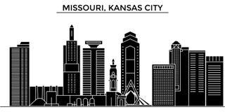 Usa, Missouri, Kansas City architecture vector city skyline, travel cityscape with landmarks, buildings, isolated sights Stock Image