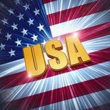 USA mit glänzender amerikanischer Flagge Stockfotos
