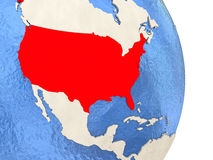 USA on model of political globe. Map of USA on globe with blue watery seas. 3D illustration Stock Image