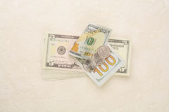 USA money and coins on the concrete floor royalty free stock image