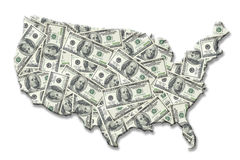 USA Money Map Stock Photos