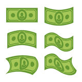 USA money. Set of dollars. Developing cash of various shapes Stock Photography