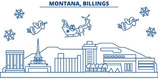 USA, Montana , Billings winter city skyline. Merry Christmas and Happy New Year decorated banner. Winter greeting card Royalty Free Stock Image
