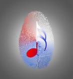 USA Music Fingerprint. Red White and Blue USA Music Fingerprint Stock Photo