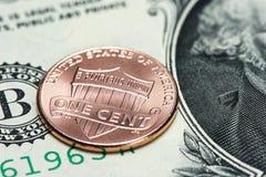 USA-mynt och sedel cent en Royaltyfria Foton