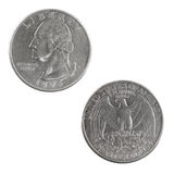 USA-myntmynt & x28; Tjugo-Fem-cent Coin& x29; på vit bakgrund Arkivbilder