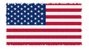 The USA nation flag. In jigsaw puzzle style isolated on white background Stock Images
