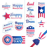 USA national celebrations badges set Royalty Free Stock Photo