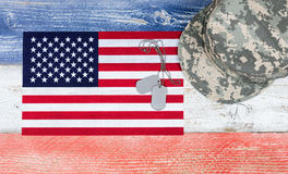 USA national colors with flag and military cap plus ID tags on w Royalty Free Stock Images