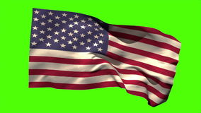 USA national flag blowing in the breeze. On green screen background stock video